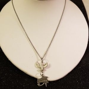 Antique silver Goddess maat necklace